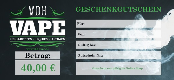 40,00 € Online Shop Gutschein